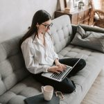 woman working at home using laptop 4050291